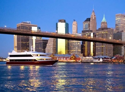 NYC yacht Atlantica-Brooklyn Bridge