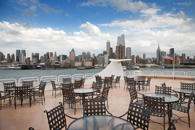 NYC motor yacht Atlantica top deck