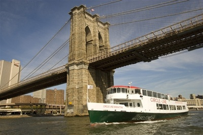 NYC charter yacht Circle Line and bridge