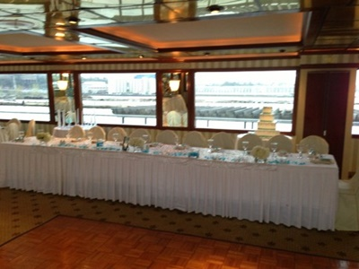 NJ charter yacht Cornucopia Destiny head table
