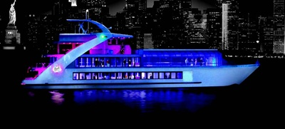 Hornblower Hybrid excursion boat at night