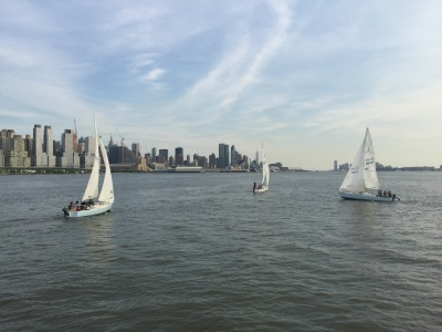 Sailing school-Three j-24s on the Hudson