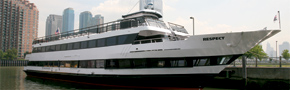 NY Harbor motor yacht Respect-dockside