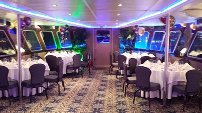 New York City motor yacht 110 dining forward