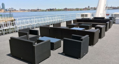 NY rental yacht 180 top deck seating