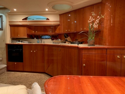NY charter Yacht 59 galley